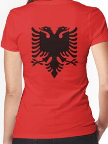 Albania, Black Eagle on Red, Albanian Flag, Flag of Albania, Tale of the Eagle Women's Fitted V-Neck T-Shirt