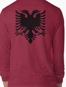 Albania, Black Eagle on Red, Albanian Flag, Flag of Albania, Tale of the Eagle Long Sleeve T-Shirt
