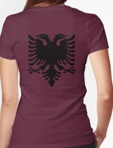 Albania, Black Eagle on Red, Albanian Flag, Flag of Albania, Tale of the Eagle Womens Fitted T-Shirt