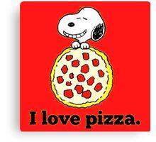 Snoopy I Love Pizza Canvas Print