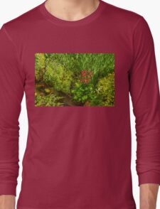 Impressions of Gardens - a Miniature Spring Creek with a Red Primrose  Long Sleeve T-Shirt