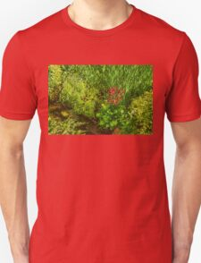 Impressions of Gardens - a Miniature Spring Creek with a Red Primrose  Unisex T-Shirt