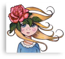 Big-Eyed Girl with ROSE, No. 2, Whimsical Art, Surreal Art Canvas Print