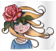 Big-Eyed Girl with ROSE, No. 2, Whimsical Art, Surreal Art Poster