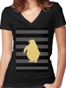 Yellow Penguin and black stripes Women's Fitted V-Neck T-Shirt
