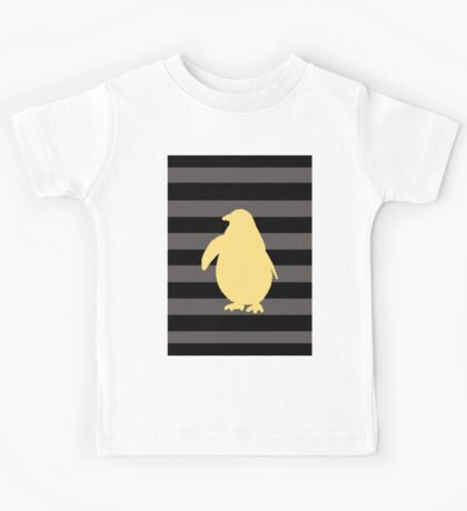 Yellow Penguin and black stripes Kids Tee