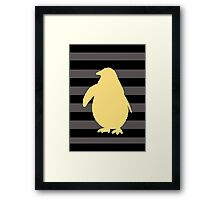 Yellow Penguin and black stripes Framed Print