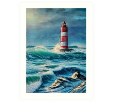 Lighthouse in the stormy sea Art Print