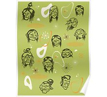 Shrunken Heads Retro Pattern Poster