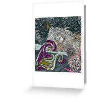 blue iguana lizard Greeting Card