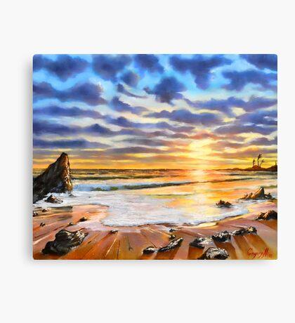 sunset on a tropical beach Canvas Print