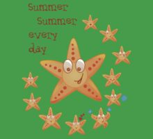 Cute funny sea star among little ones Baby Tee