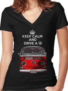 Keep Calm and Drive a VW _blank version Women's Fitted V-Neck T-Shirt