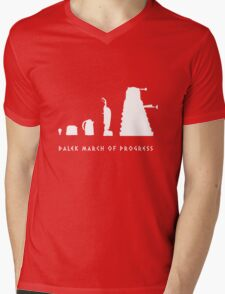 Dalek March of Progress White Mens V-Neck T-Shirt