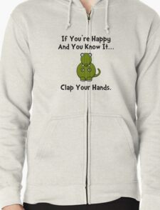 TRex Clap Your Hands Zipped Hoodie