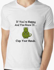 TRex Clap Your Hands Mens V-Neck T-Shirt