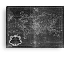 World Map (1778) Black & White  Canvas Print
