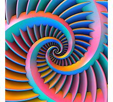 Opposing Spiral Pattern in 3-D Photographic Print