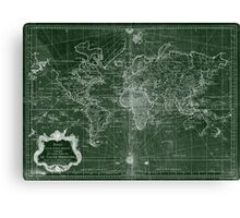 World Map (1778) Green & White  Canvas Print