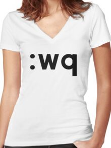 :wq - Black Text for Vi/Vim Users Women's Fitted V-Neck T-Shirt