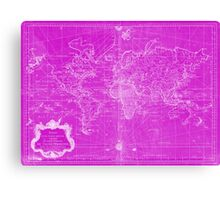 World Map (1778) Pink & White Canvas Print
