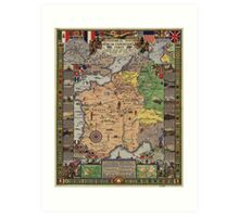 American Expeditionary Force World War I Map Art Print