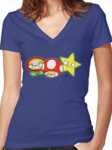 Power ups! Women's Fitted V-Neck T-Shirt