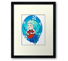 Cute angel with red heart Framed Print