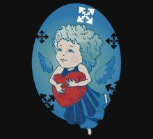 Cute angel with red heart Kids Tee
