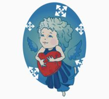 Cute angel with red heart One Piece - Short Sleeve