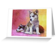 Husky Puppies - Canine Dog Painting Greeting Card