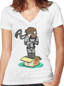 He thinks he's hiding... Women's Fitted V-Neck T-Shirt