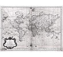 World Map (1778) White & Black  Photographic Print