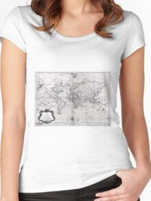 World Map (1778) White & Black  Women's Fitted Scoop T-Shirt