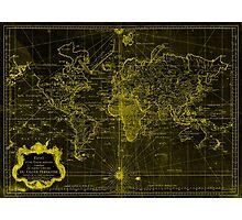 World Map (1778) Black & Yellow  Photographic Print