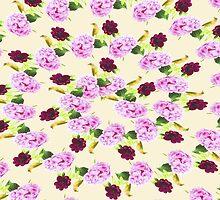 Pink Hydrangea Red Peony House Wren Sprials by daphsam