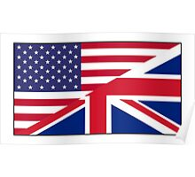 ANGLO AMERICAN FLAG, USA, America, Great Britain, Union Jack, Stars & Stripes Poster