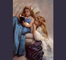 Victorian Era Portrait of two girls reading a book Womens Fitted T-Shirt