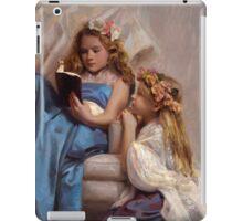 Victorian Era Portrait of two girls reading a book iPad Case/Skin