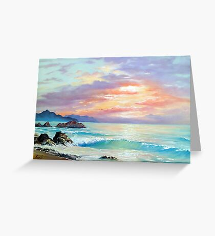 Sea Sunset In Motion Greeting Card