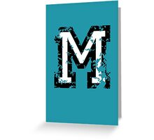 Letter M (Distressed) two-color black/white character Greeting Card