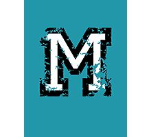Letter M (Distressed) two-color black/white character Photographic Print