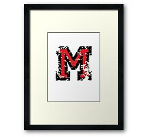 Letter M (Distressed) two-color black/red character Framed Print