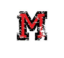 Letter M (Distressed) two-color black/red character Photographic Print