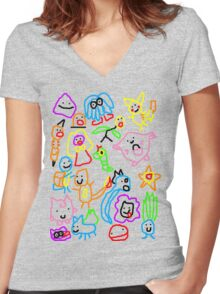 Poorly Drawn Pokemon Women's Fitted V-Neck T-Shirt