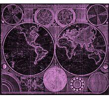World Map (1794) Black & Purple  Photographic Print