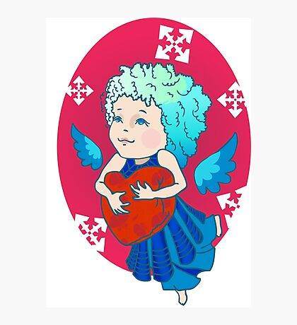 Cute angel with red heart Photographic Print