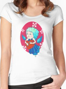 Cute angel with red heart Women's Fitted Scoop T-Shirt