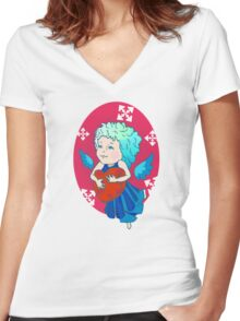Cute angel with red heart Women's Fitted V-Neck T-Shirt
