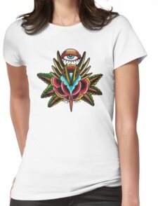 All Seeing Rose on White Womens Fitted T-Shirt
